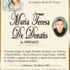 È morta Maria Teresa De Donatis in Sindaco