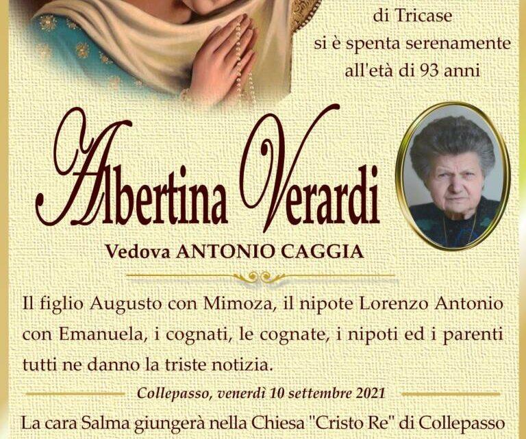 È morta Albertina Verardi, ved. Caggia
