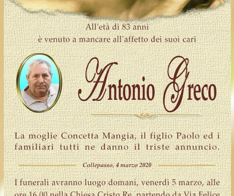 È morto Antonio Greco