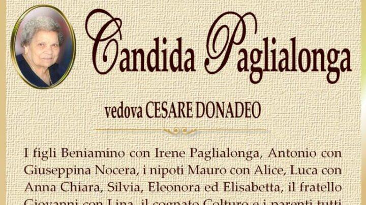 È morta Candida Paglialonga, ved. Donadeo