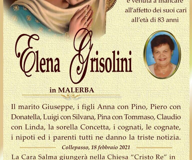 È morta Elena Grisolini in Malerba