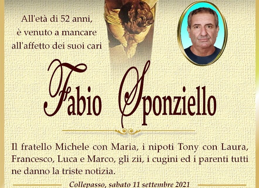 È morto Fabio Sponziello