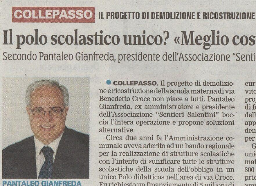 """La Gazzetta del Mezzogiorno: """"Il polo scolastico unico? «Meglio costruirlo ex novo nell'area di San Sumà»"""""""