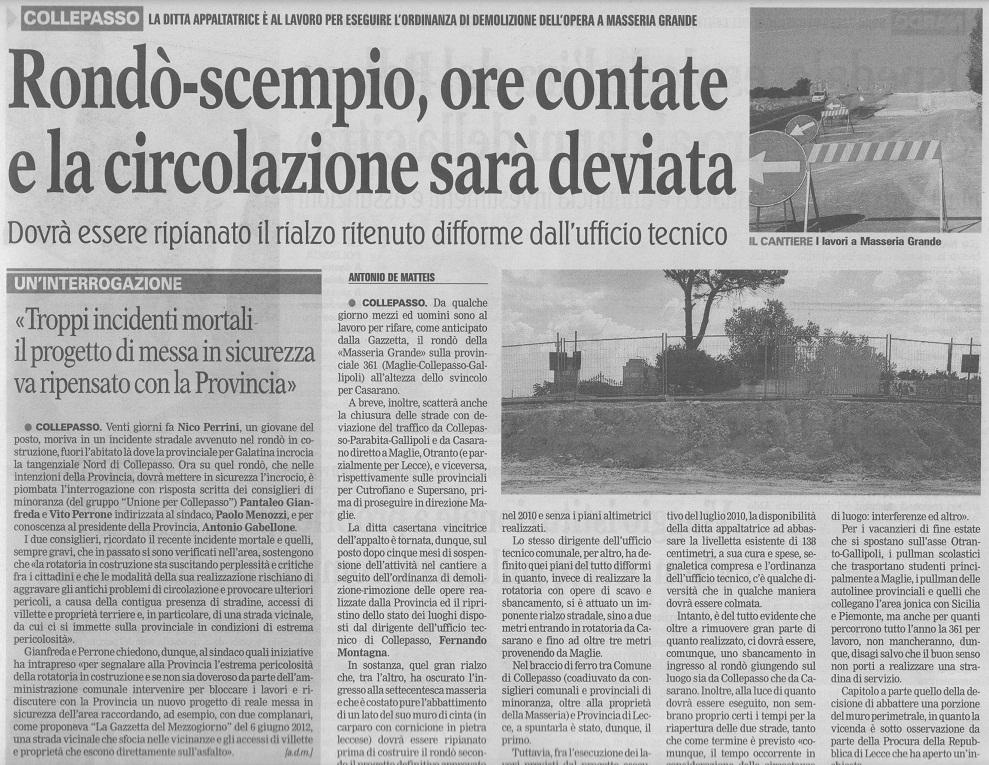 La Gazzetta del Mezzogiorno, domenica 8 settembre 2013