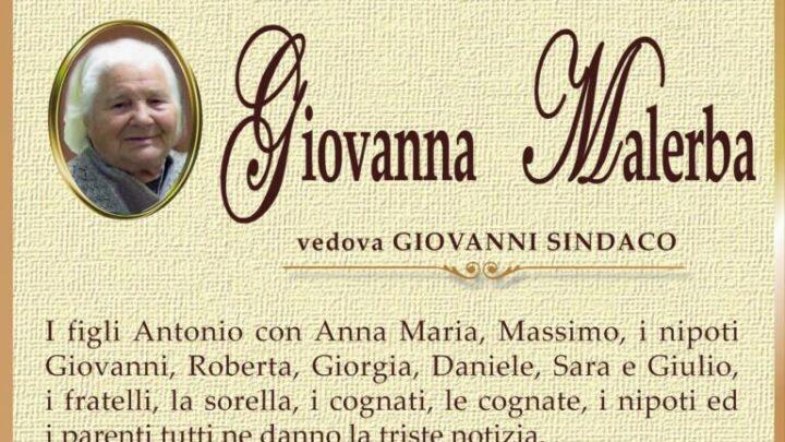 È morta Giovanna Malerba, ved. Sindaco