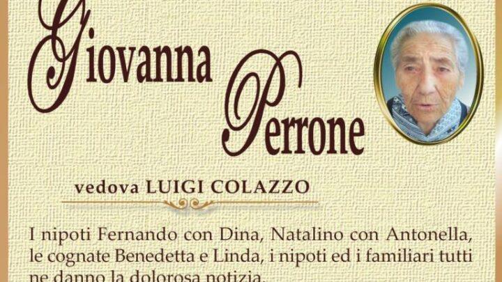 È morta Giovanna Perrone, ved. Colazzo
