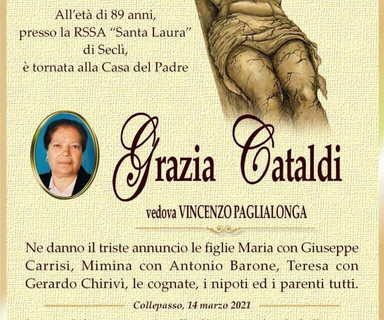 È morta Grazia Cataldi, ved. Paglialonga