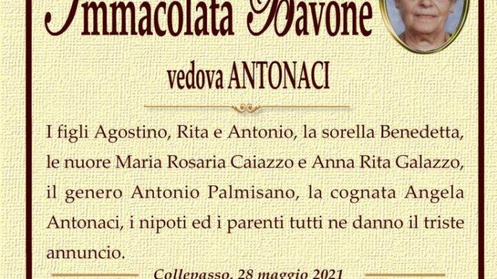 È morta Immacolata Bavone, ved. Antonaci