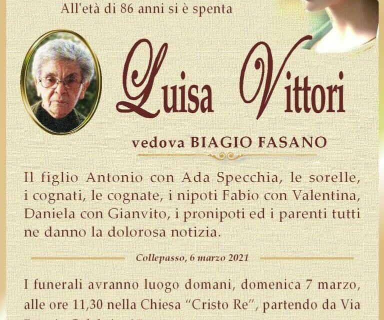 È morta Luisa Vittori, ved. Fasano