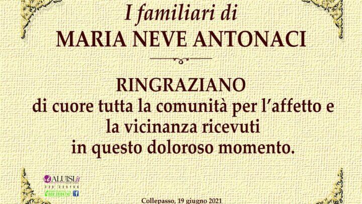 Figli e familiari di Maria Neve Antonaci ringraziano