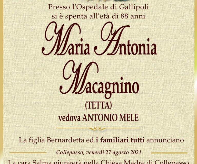 È morta Maria Antonia Macagnino, ved. Mele