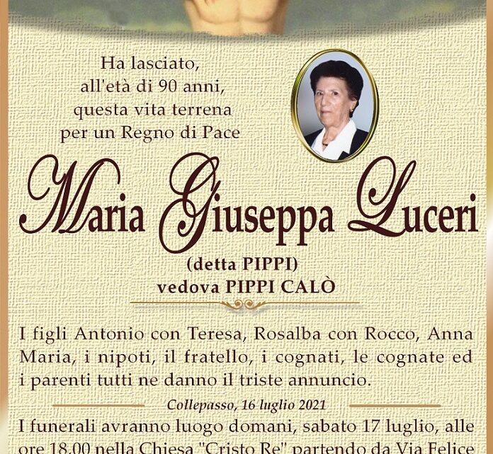 È morta Maria Giuseppa Luceri, ved. Calò