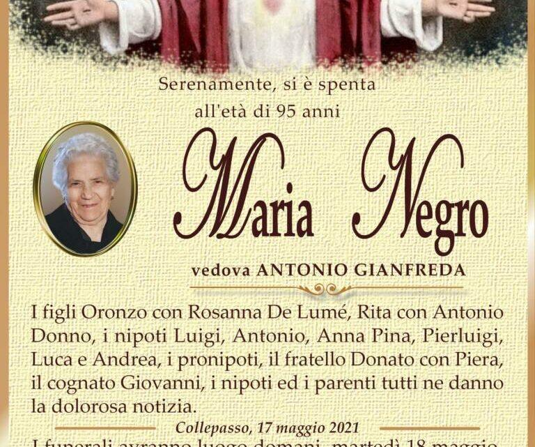 È morta Maria Negro, ved. Gianfreda