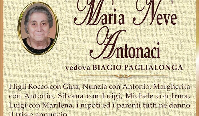 È morta Maria Neve Antonaci, ved. Paglialonga