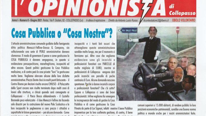 """Torna """"l'Opinionista di Collepasso"""", periodico edito e diretto da Lucio Russo"""