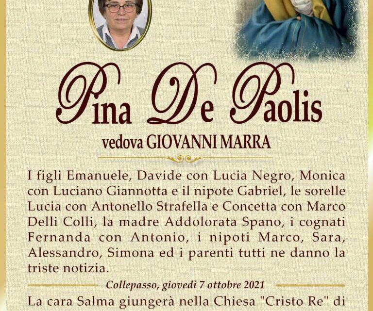 È morta Pina De Paolis, ved. Marra
