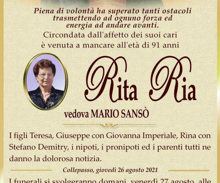 È morta Rita Ria, ved. Sansò
