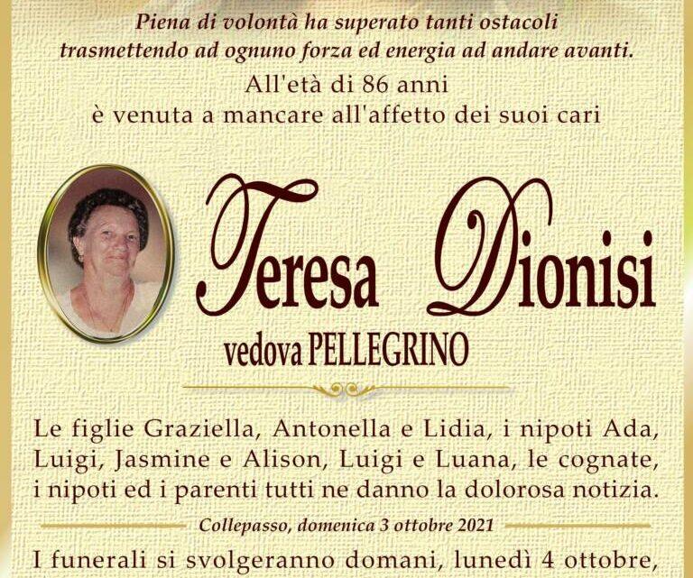 È morta Teresa Dionisi, ved. Pellegrino